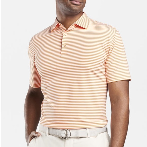 9bb774643 Peter Millar Shirts | Orange And White Stripper Polo | Poshmark